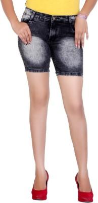 F Fashion Stylus Solid Women's Black Denim Shorts