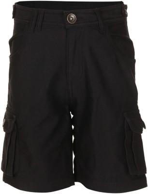 Slub Junior By Inmark Solid Boy's Black Denim Shorts