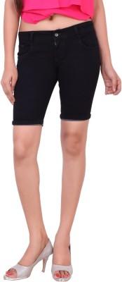 Airways Solid Women's Black Denim Shorts