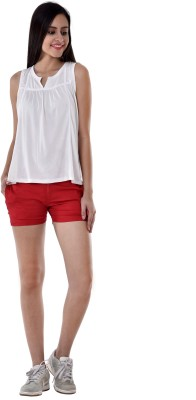 Colors Couture Solid Women's Red Basic Shorts