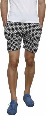 Crux&Hunter Self Design Men's Black Basic Shorts