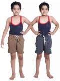 Red Ring Short For Boys Self Design Cott...