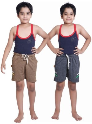 Red Ring Self Design Boy's Brown, Blue Sports Shorts