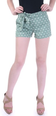 Street 9 Polka Print Women's Green, White High Waist Shorts