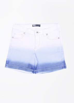 Levi's Solid Girl's White, Blue Denim Shorts