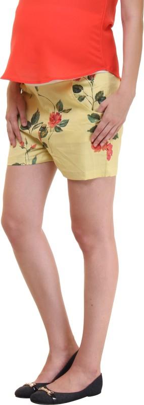 preggear Floral Print Women's Yellow, Green Basic Shorts