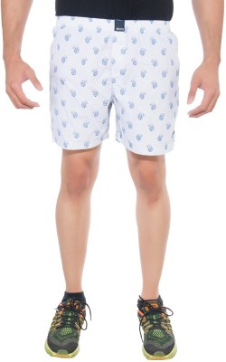 Abony Printed Men's White Boxer Shorts