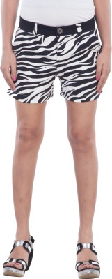 TrendBAE Printed Women's Black, White Basic Shorts at flipkart