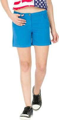 Alibi By Inmark Solid Women's Blue Chino Shorts
