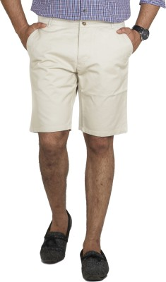 Inspired By Boardriding Solid Men's White Basic Shorts