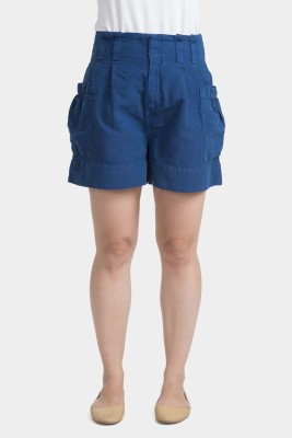 Bhane Solid Women's Dark Blue Baggy Shorts