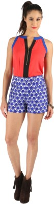 Vinegar Geometric Print Women,s Blue Basic Shorts
