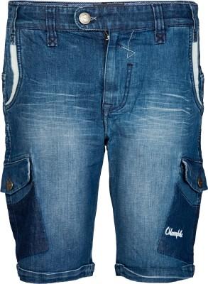 Chlorophile Solid Men's Blue Denim Shorts