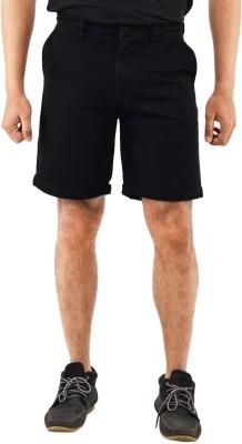 Blue Wave Solid Men's Black Basic Shorts