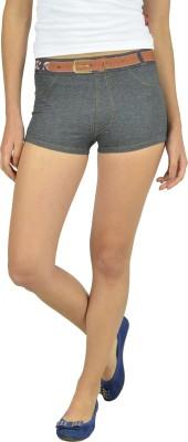 Beach Angel Self Design Women's Black Denim Shorts