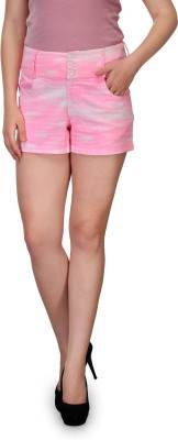 99Hunts Solid Women's Pink, White Basic Shorts