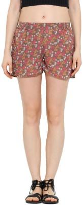Trend Arrest Floral Print Women's Grey Beach Shorts