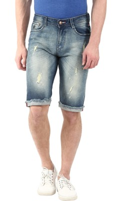 CODE 61 Self Design Men,s Dark Blue Denim Shorts