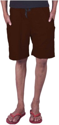 Genx Solid Men's Brown Basic Shorts