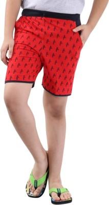 Fizzi Printed Boy's Red Bermuda Shorts