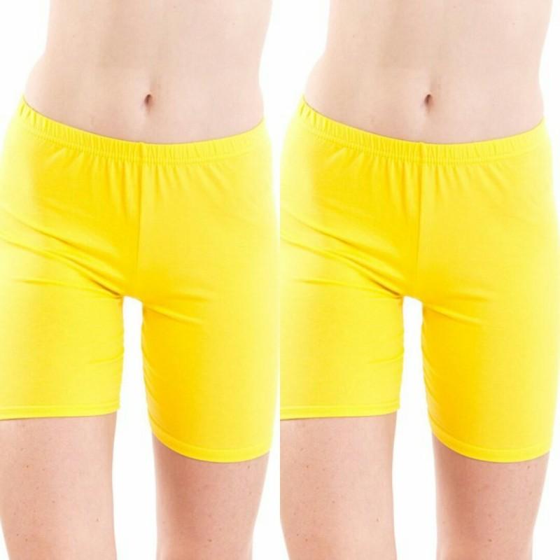 Fashion Line Solid Women's Yellow Cycling Shorts