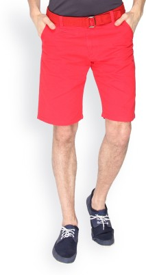 Campus Sutra Solid Men's Red Chino Shorts