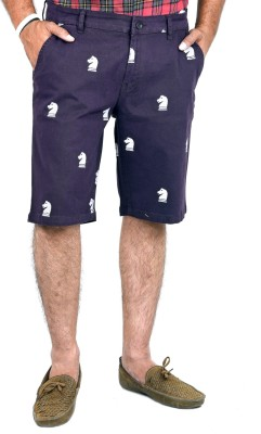 Indigen Embroidered Men's Purple Chino Shorts