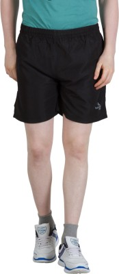 Goodluck Solid Men,s Black Sports Shorts
