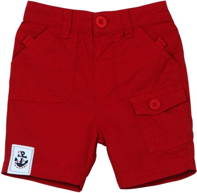 Mom & Me Solid Baby Boy's Red Cargo Shorts