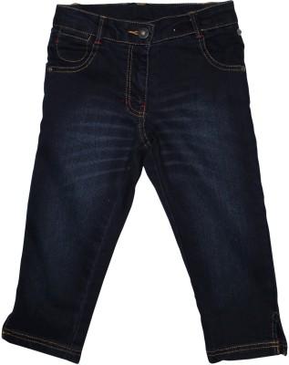 FS Mini Klub Printed Girl's Dark Blue Denim Shorts