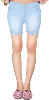 Jiya Solid Women,s Light Blue Denim Shorts