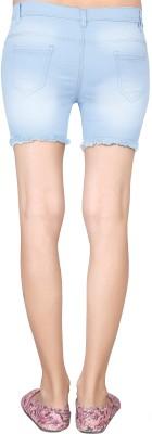 Khushali Solid Women's Light Blue Denim Shorts