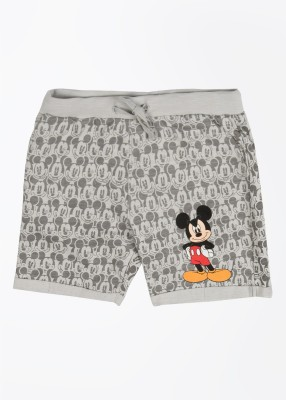 Mickey & Friends Printed Boy's Grey Basic Shorts