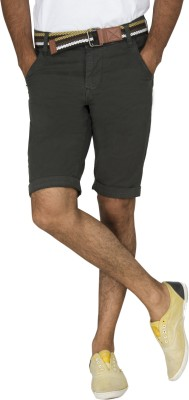 Rookies Solid Men's Green Cargo Shorts