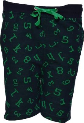 Crux&Hunter Self Design Boy's Green Basic Shorts