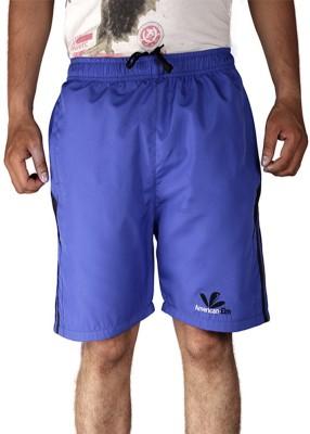 American-Elm Self Design Men's Blue Sports Shorts
