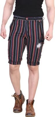 King & I Striped Men's Brown Chino Shorts