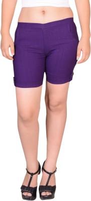 styzon Solid Women's Purple Basic Shorts