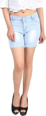 Ico Blue Star Self Design Women's Light Blue Denim Shorts