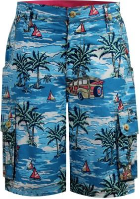 The Cranberry Club Printed Boy's Blue Beach Shorts