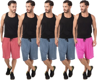 Meebaw Self Design Men,s Red, Dark Blue, Dark Blue, Dark Blue, Pink Sports Shorts