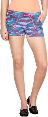 Le Bison Self Design Women's Blue Hotpants
