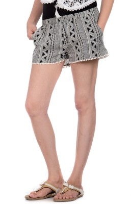 House of Tantrums Chevron Women's Black, White Hotpants, Basic Shorts, Beach Shorts