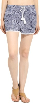 Label VR Printed Women's Dark Blue Basic Shorts