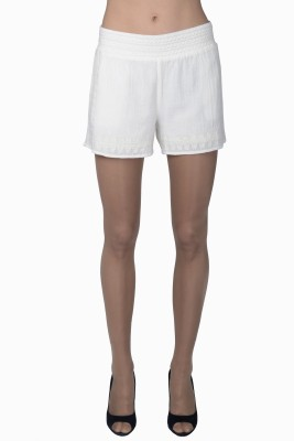 Miway Embroidered Women's White Basic Shorts