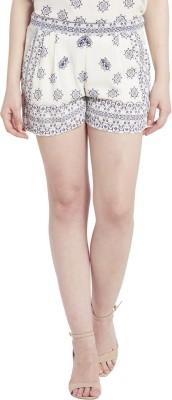 Globus Printed Women's White Basic Shorts