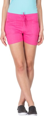 Lovable Solid Women's Pink Basic Shorts