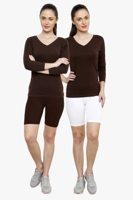 Softrose Solid Women's Brown, White Cycling Shorts