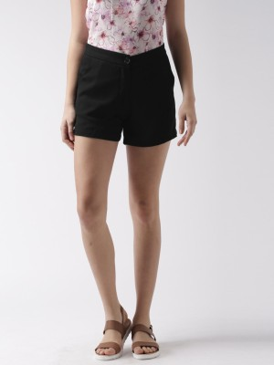 Mast & Harbour Solid Women's Black Basic Shorts