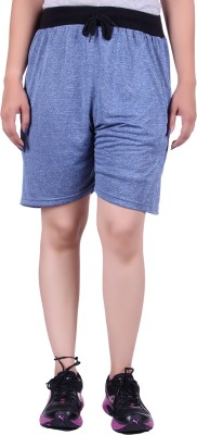 Gag Wear Solid Women's Dark Blue Gym Shorts at flipkart